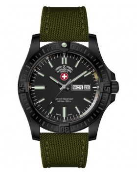 CX Swiss Military DESERT STORM Day/Date watch 42mm Olive strap Black dial 3097