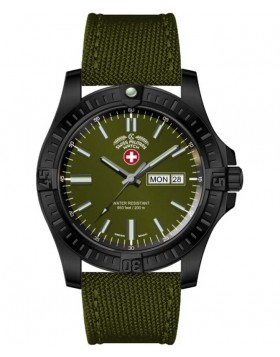 CX Swiss Military DESERT STORM Day/Date watch 42mm Olive strap Olive dial 3098