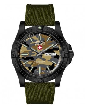 CX Swiss Military DESERT STORM Day/Date watch 42mm Olive Camo strap/dial 3101