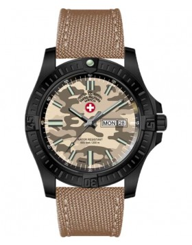 CX Swiss Military DESERT STORM Day/Date watch 42mm Khaki Camo dial/strap 3102