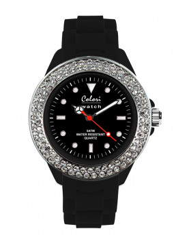 COLORI CLASSIC COLLECTION WATCH 50M WR JAPAN QUARTZ CZ BLACK 36MM DIAMETER 5-COL129