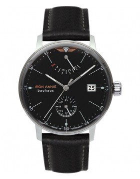 Iron Annie Bauhaus Auto Watch Pwr Reserve Clear Back 41mm Case Black Dial 50602