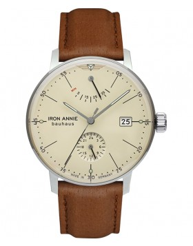Iron Annie Bauhaus Auto Watch Pwr Reserve Clear Back 41mm Case Beige Dial 50605