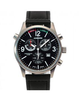 JUNKERS WORLD FLIGHT RECORDS G38 6296-2 QUARTZ WATCH SWISS ETA ALARM CHRONO BLACK DIAL