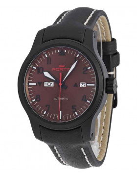 FORTIS AVIATIS AEROMASTER DUSK WATCH 42mm SWISS AUTO BLK PVD CASE 655.18.98 L01