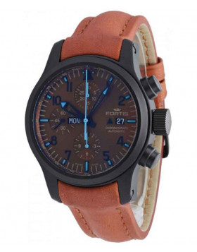 FORTIS Aviatis Blue Horizon Chrono Day Date Auto PVD Watch Ltd Edn 656.18.95 L38