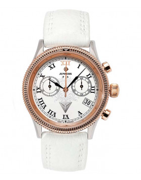 Junkers 6585-5 Chronograph F13 Lady Watch white dial with black digits / markers 6585-5