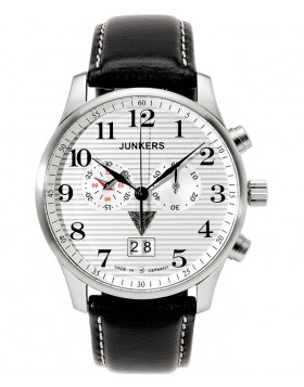 Junkers Iron Annie JU52 Quartz chrono watch Big date 42mm case White Dial 6686-1