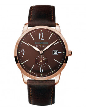Zeppelin Flatline Quartz Extra slim watch Rose Gold 39mm case Brown dial 7336-5