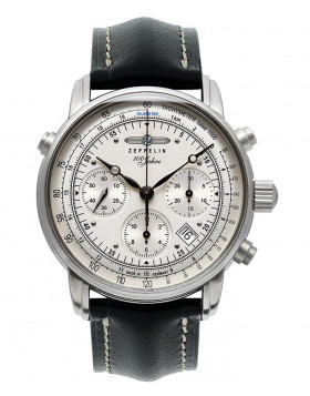 Zeppelin 100 Years Auto Chrono watch ETA 7753 Clear back 5ATM Silver dial 7618-1