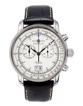 Zeppelin 100 Years Quartz watch 12 Hour Totalizer Big date Silver dial 7690-1