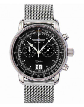 Zeppelin 7690M-2 100 Years Zeppelin Watch black dial with white digits / markers 7690M-2