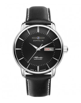 Zeppelin Atlantic Automatic Watch 41mm Day/Date Clear Back Black Dial