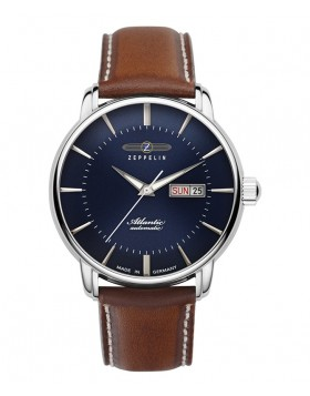 Zeppelin Atlantic Automatic Watch 41mm Day/Date Clear Back Blue Dial