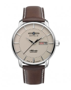Zeppelin Atlantic Automatic Watch 41mm Day/Date Clear Back Beige Dial