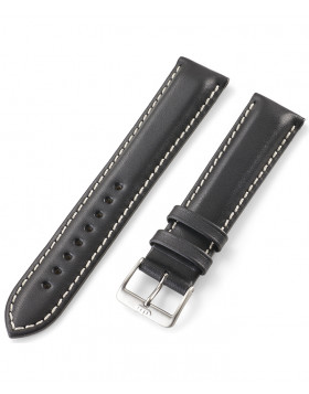FORTIS Leather strap black with pin buckle brushed 99.121.01.010