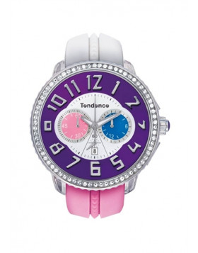 TENDENCE WATCH CRAZY - WHITE & ROSE CHRONO WITH STONES T0460405
