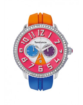 TENDENCE WATCH CRAZY - ORANGE & LIGHT BLUE CHRONO WITH STONES T0460407