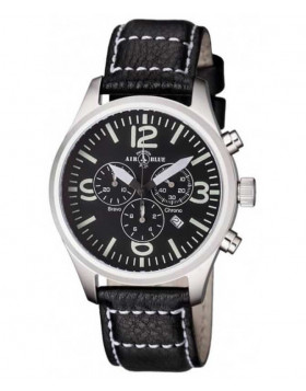 Air Blue BRAVO CHRONO SS Swiss quartz Pilots watch Date 44mm case Black dial