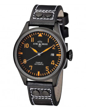 Air Blue CHARLIE AUTO Black PVD watch 44mm case Sapphire 10ATM Black/Orange dial