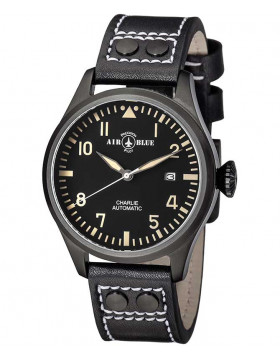 Air Blue CHARLIE AUTO watch Black PVD 44mm case Sapphire 10ATM Black/Tan dial
