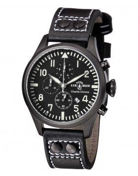 Air Blue CHARLIE CHRONO watch Black PVD 44mm case Sapphire 10ATM Black/White dial