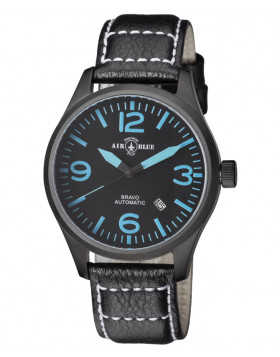Air Blue BRAVO AUTO Pilots watch Date 44mm PVD case Sapphire Glass Blk/Blu dial