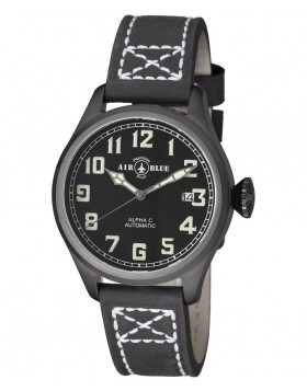 Air Blue ALPHA C PVD Pilots watch Automatic with Date Sapphire Crystal