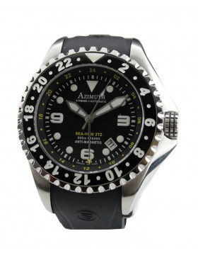 AZIMUTH XTREME-1 SEA-HUM 3TZ WATCH 3 TIME ZONE 500m/1640ft WR BLACK RUBBER