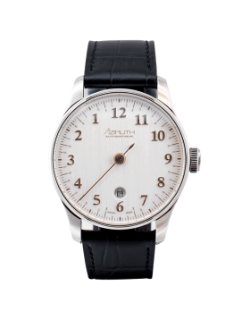 AZIMUTH ROUND-1 BACK IN TIME SILVER ROSE WATCH BACKWARDS MOTION ETA MOVEMENT