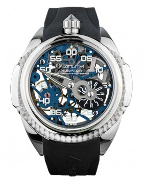 Azimuth Predator 2 Skeleton Watch Mystery Jump Hour on 3D min. hand Blue