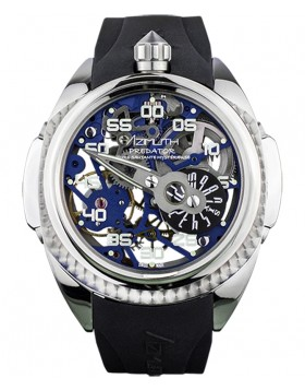 Azimuth Predator 2 Skeleton Watch Mystery Jump Hour on 3D min. hand Dark Blue