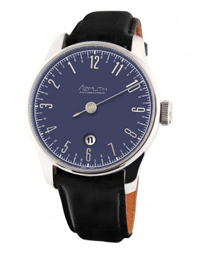 Azimuth Back in Time Blue Blast Watch with Date Anti-clockwise ETA Auto Movement