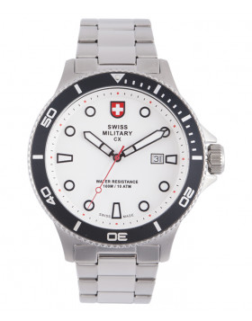 CX Swiss Military CALYPSO Diving Watch Swiss Quartz Date 10ATM White Dial 2875