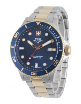 CX Swiss Military CALYPSO Diving Watch Swiss Quartz Date 10ATM Blue Dial 2877