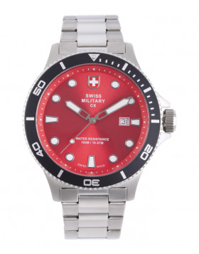 CX Swiss Military CALYPSO Diving Watch Swiss Quartz Date 10ATM Red Dial 2878