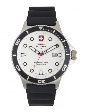 CX Swiss Military CALYPSO Diving Watch Swiss Quartz Date 10ATM White Dial 2880