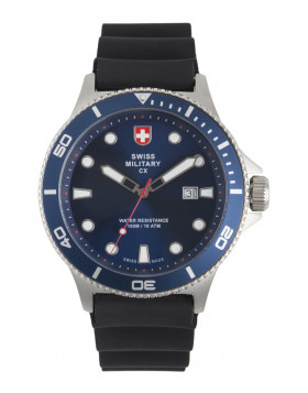 CX Swiss Military CALYPSO Diving Watch Swiss Quartz Date 10ATM Blue Dial 2882
