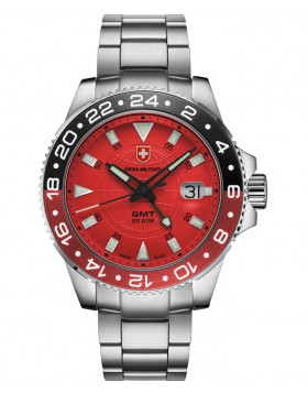 CX Swiss Military GMT Swiss quartz 42mm watch 20ATM 2nd Timezone Red dial 2773