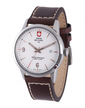 CX Swiss Military GRUNT Officer Watch Swiss Quartz Brown Strap White Dial 2892
