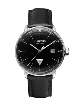 JUNKERS BAUHAUS 6070-2 QUARTZ WATCH SWISS MOVEMENT 30M WR BLACK DIAL