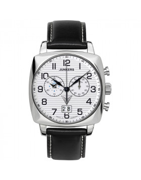 JUNKERS ATLANTIC FLIGHT EAST-WEST 6486-1 QUARTZ WATCH with SWISS RONDA MOVEMENT 50M WR SILVER DIAL