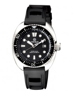 Deep Blue MILITARY DIVER 300 Swiss Automatic watch 44mm Black Bezel Black dial