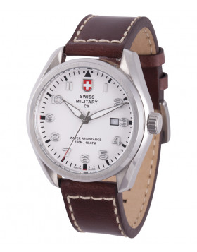 CX Swiss Military MIRAGE Pilot Watch Swiss Quartz Date 10ATM White Dial 2855