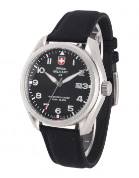CX Swiss Military MIRAGE Pilot Watch Swiss Quartz Date 10ATM Black Dial 2856