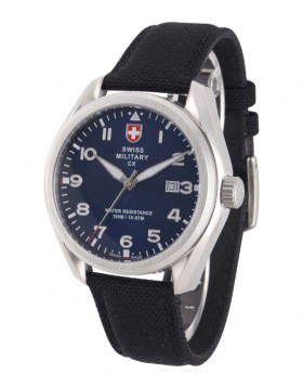 CX Swiss Military MIRAGE Pilot Watch Swiss Quartz Date 10ATM Blue Dial 2857