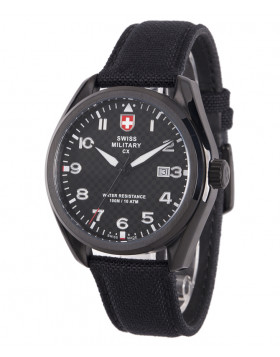 CX Swiss Military MIRAGE Pilot Watch Swiss Quartz Date 10ATM Black Dial 2858