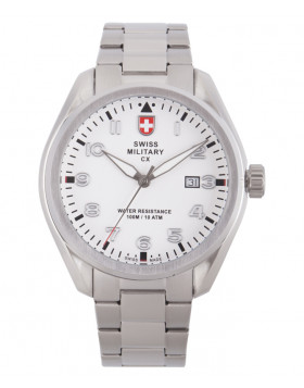 CX Swiss Military MIRAGE Pilot Watch Swiss Quartz Date 10ATM White Dial 2860