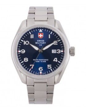 CX Swiss Military MIRAGE Pilot Watch Swiss Quartz Date 10ATM Blue Dial 2861
