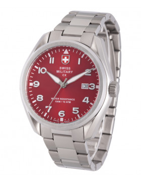 CX Swiss Military MIRAGE Pilot Watch Swiss Quartz Date 10ATM Red Dial 2862